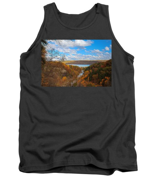 Tank Top featuring the painting Taughannock River Canyon In Colorful Fall Ithaca New York Iv by Paul Ge