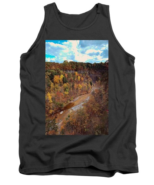 Tank Top featuring the painting Taughannock River Canyon In Colorful Fall Ithaca New York V by Paul Ge