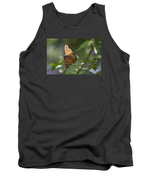 Tawny Emperor On Hibiscus Tank Top by Shelly Gunderson