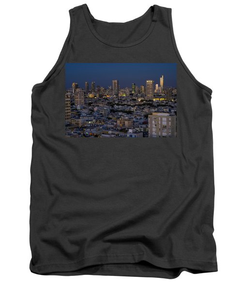 Tank Top featuring the photograph Tel Aviv At The Twilight Magic Hour by Ron Shoshani