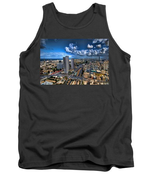 Tank Top featuring the photograph Tel Aviv Center Skyline by Ron Shoshani