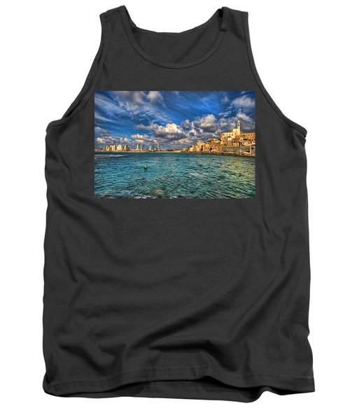 Tank Top featuring the photograph Tel Aviv Jaffa Shoreline by Ron Shoshani