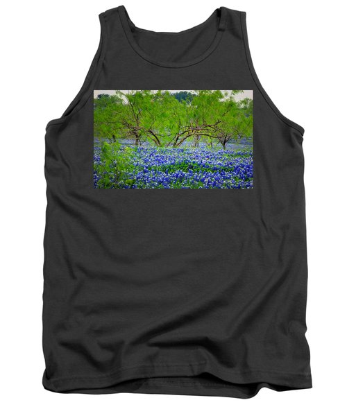 Tank Top featuring the photograph Texas Bluebonnets - Texas Bluebonnet Wildflowers Landscape Flowers by Jon Holiday