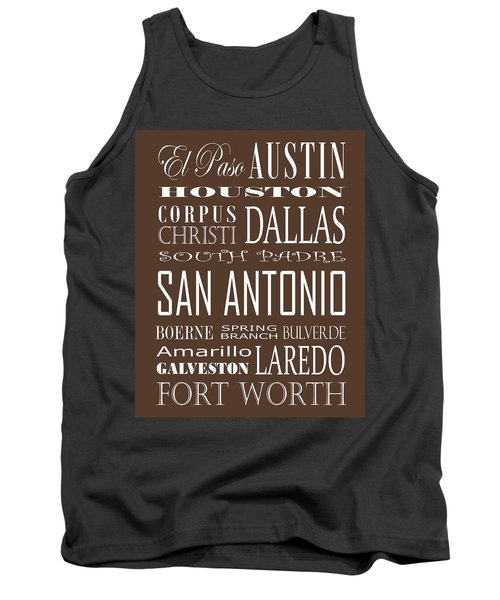 Texas Cities On Brown Tank Top