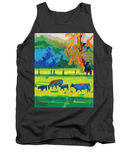 Texas Cows At Sunset Oil Painting Bertram Poole Apr14 Tank Top by Thomas Bertram POOLE