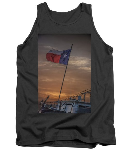 Texas Flag Flying From A Fishing Boat At Sunrise Tank Top