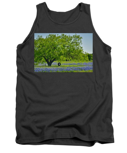 Tank Top featuring the photograph Texas Life - Bluebonnet Wildflowers Landscape Tire Swing by Jon Holiday