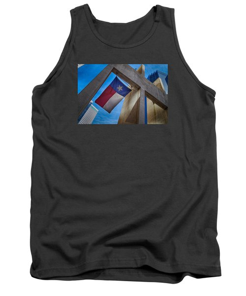 Tank Top featuring the photograph Texas State Flag Downtown Dallas by Kathy Churchman