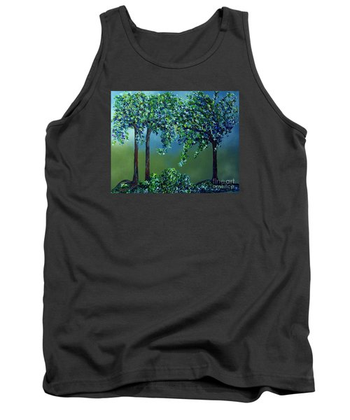 Tank Top featuring the painting Texture Trees by Eloise Schneider