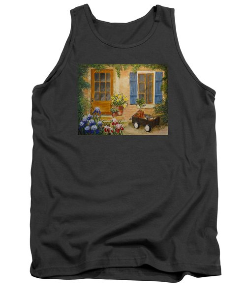 Tank Top featuring the painting The Back Door by Marilyn Zalatan