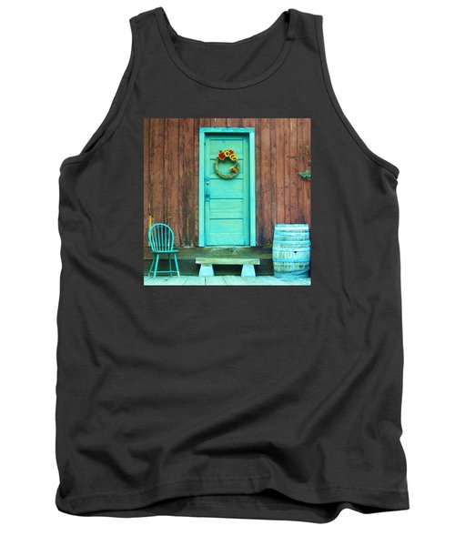 Tank Top featuring the photograph The Blue Door by Marilyn Diaz