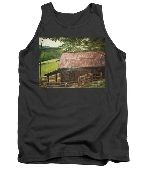 Tank Top featuring the painting The Cherrys Barn by Jan Dappen