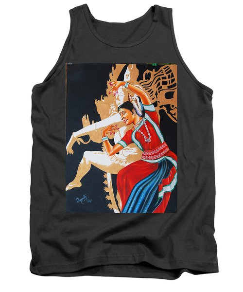 Tank Top featuring the painting The Dance Divine Of Odissi by Ragunath Venkatraman