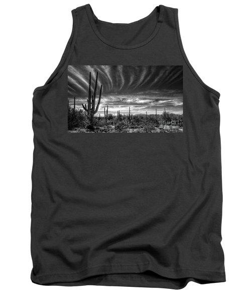 The Desert In Black And White Tank Top by Saija  Lehtonen