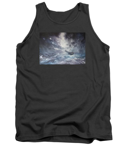 The Endeavour On Stormy Seas Tank Top by Jean Walker