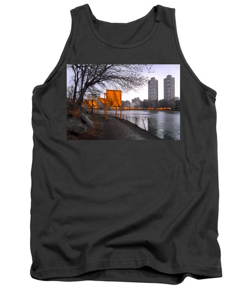 Tank Top featuring the photograph The Gates - Central Park New York - Harlem Meer by Gary Heller