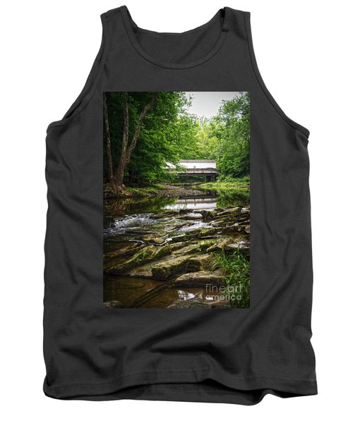 Tank Top featuring the photograph The Green Sergeants Covered Bridge II by Debra Fedchin