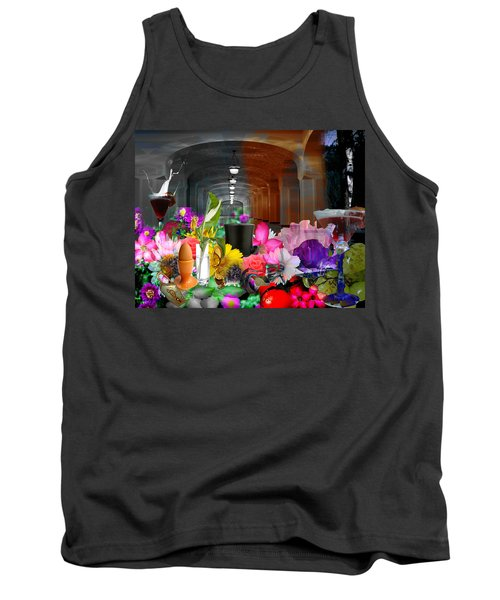 Tank Top featuring the digital art The Long Collage by Cathy Anderson