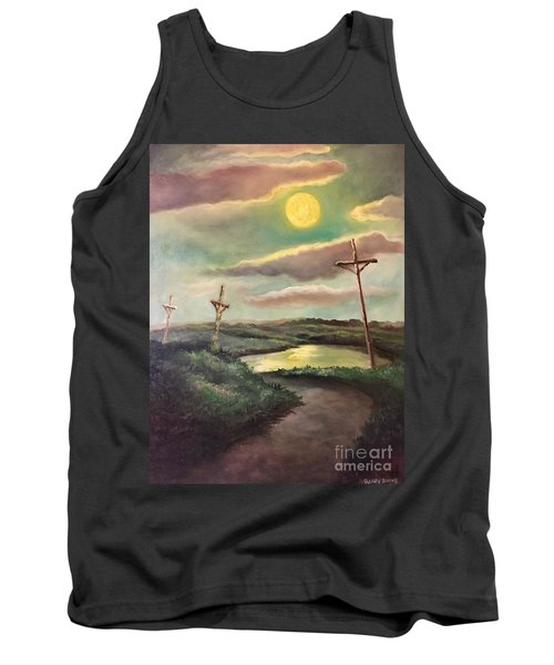 The Moon With Three Crosses Tank Top by Randy Burns