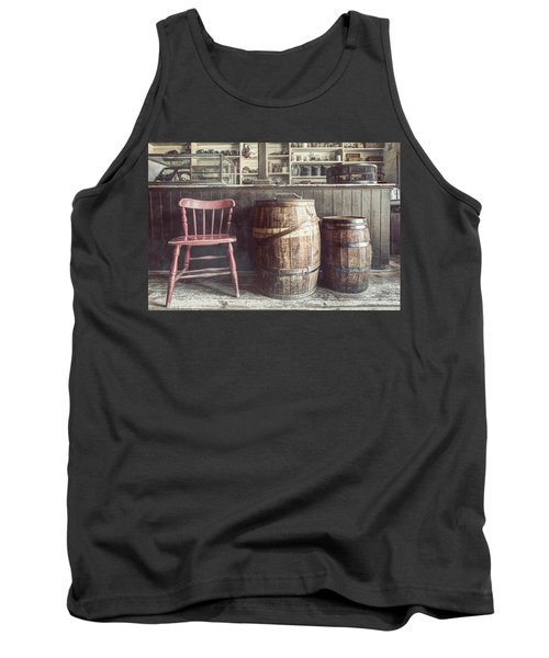The Old General Store - Red Chair And Barrels In This 19th Century Store Tank Top