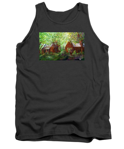Tank Top featuring the painting The Old Swing Between The House And The Barn by Eloise Schneider