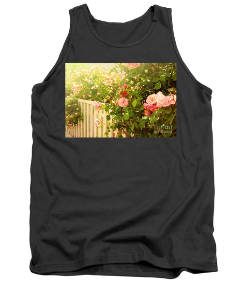 The Scent Of Roses And A White Fence Tank Top by Sabine Jacobs