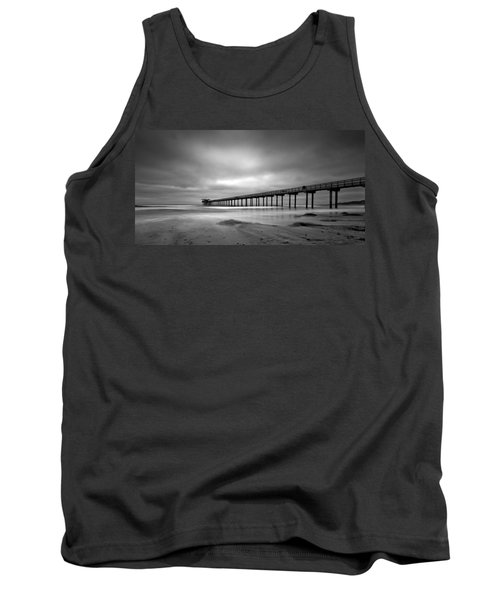 The Scripps Pier - Black And White Tank Top