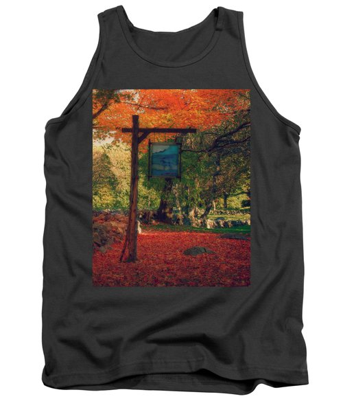 Tank Top featuring the photograph The Sign Of Fall Colors by Jeff Folger