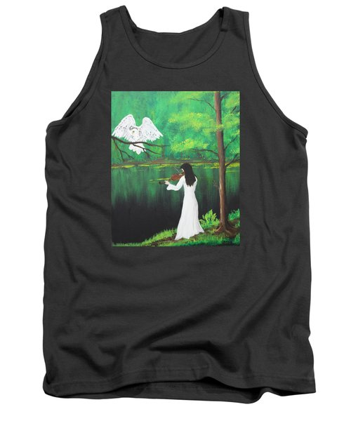 The Violinist By The River   Tank Top by Patricia Olson