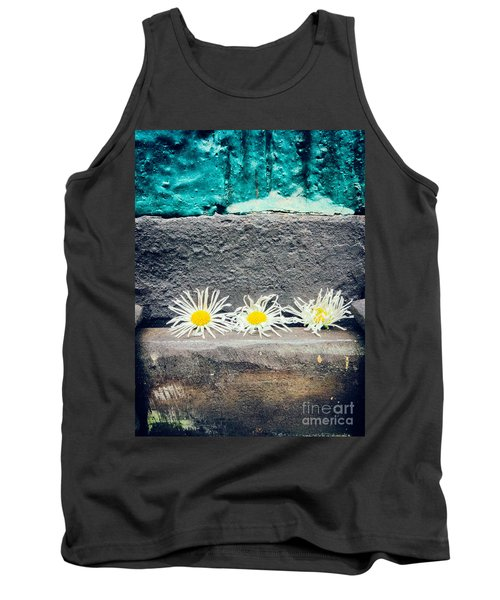 Tank Top featuring the photograph Three Daisies Stuck In A Door by Silvia Ganora