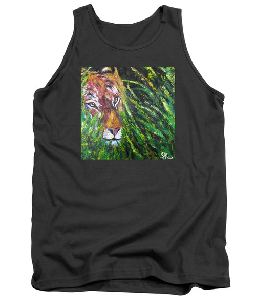 Tiger In The Grass  Tank Top