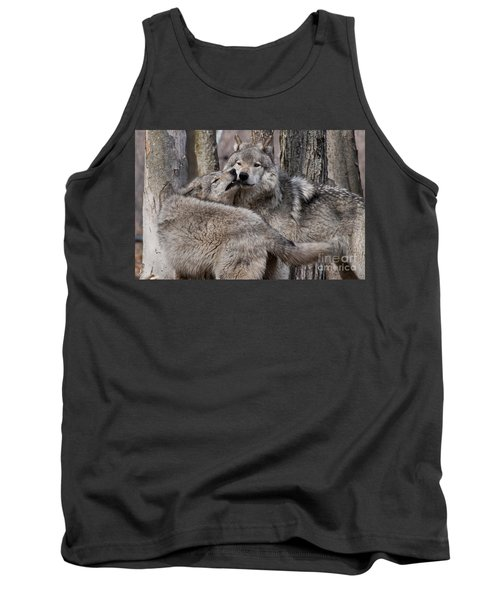 Tank Top featuring the photograph Timber Wolves Playing by Wolves Only