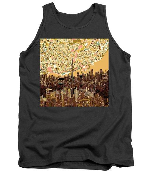 Toronto Skyline Abstract 9 Tank Top by Bekim Art