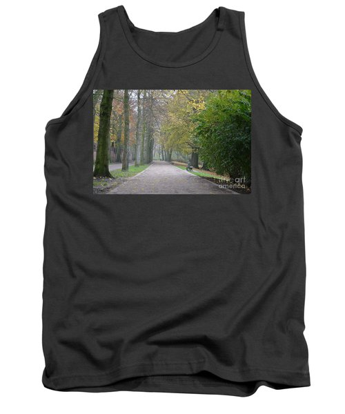 Tank Top featuring the photograph Tree Lined Path In Fall Season Bruges Belgium by Imran Ahmed