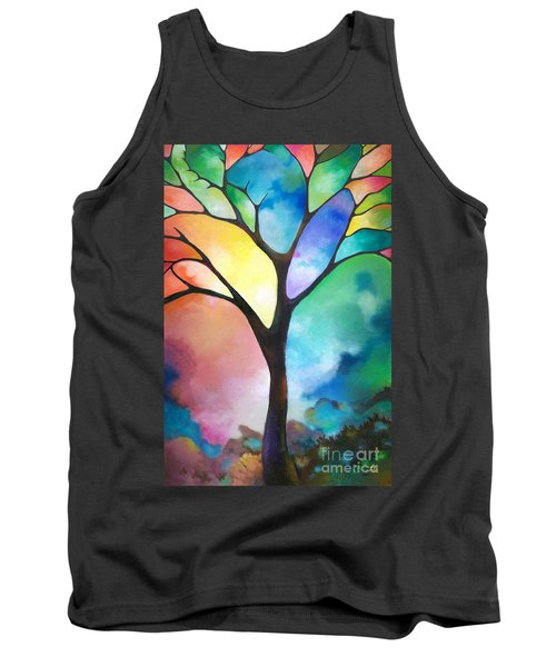 Original Art Abstract Art Acrylic Painting Tree Of Light By Sally Trace Fine Art Tank Top by Sally Trace