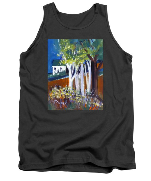 Trees And White Farm House Tank Top by Betty Pieper