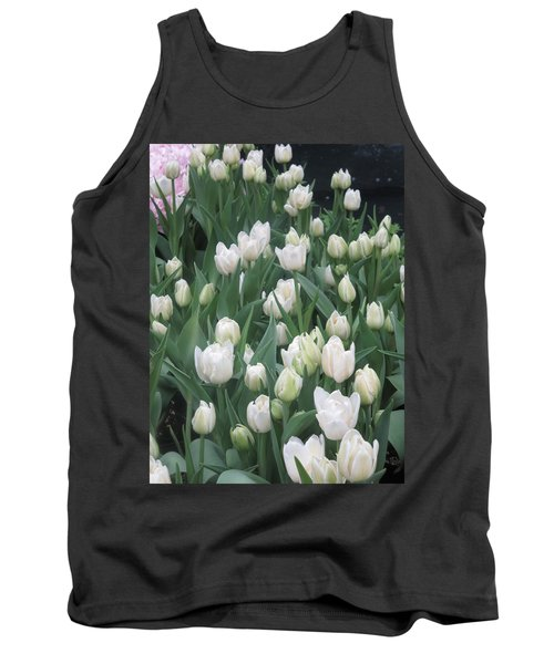 Tank Top featuring the photograph Tulip White Show Flower Butterfly Garden by Navin Joshi
