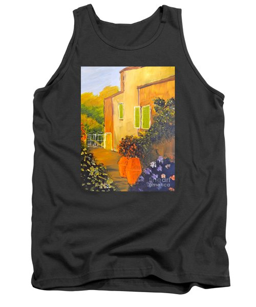 Tank Top featuring the painting Tuscany Courtyard by Pamela  Meredith