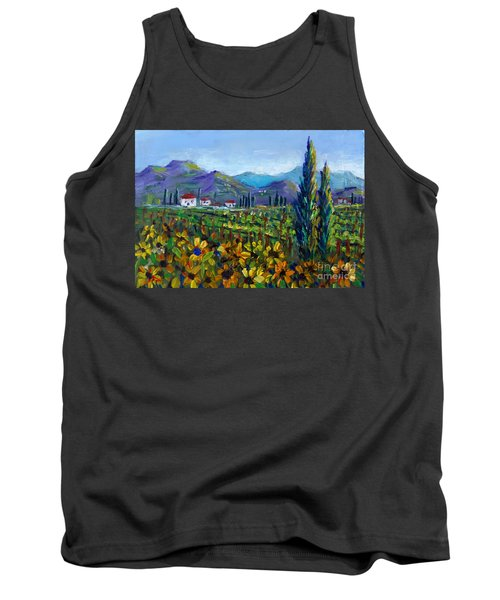 Tank Top featuring the painting Tuscany Sunflowers Miniature by Lou Ann Bagnall