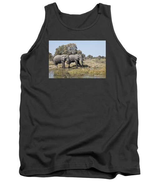 Tank Top featuring the photograph Two Bull African Elephants - Okavango Delta by Liz Leyden