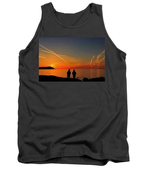 Two Friends Enjoying A Sunset Tank Top