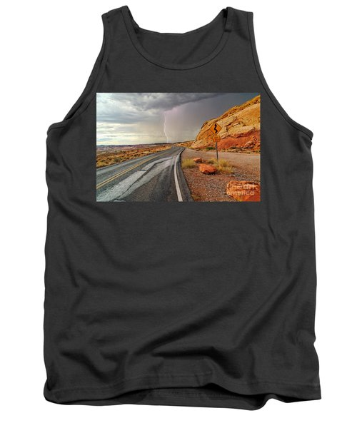 Uncertainty - Lightning Striking During A Storm In The Valley Of Fire State Park In Nevada. Tank Top