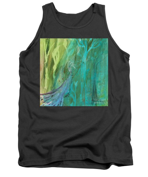 Tank Top featuring the painting Undercover Peacock by Robin Maria Pedrero