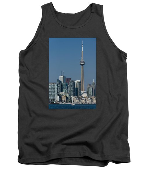 Up Close And Personal - Cn Tower Toronto Harbor And Skyline From A Boat Tank Top by Georgia Mizuleva