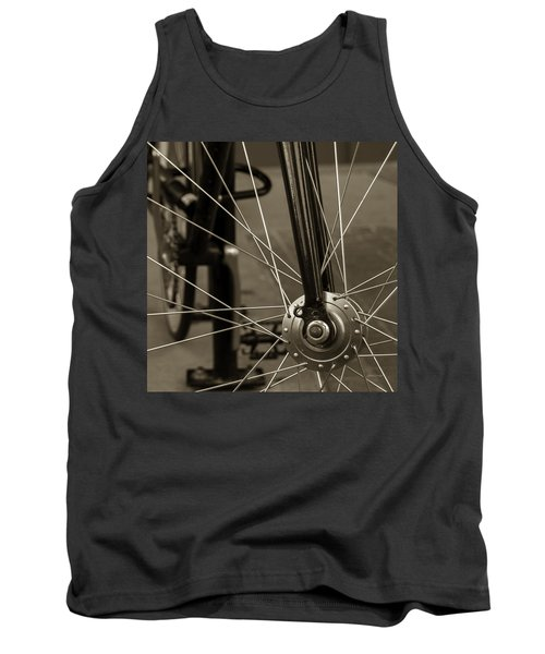Tank Top featuring the photograph Urban Spokes In Sepia by Steven Milner