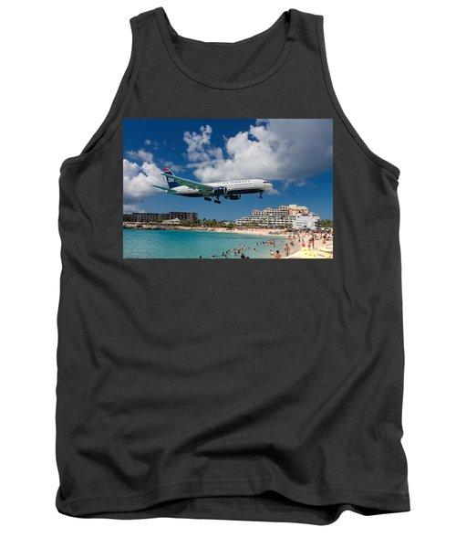 U S Airways Landing At St. Maarten Tank Top