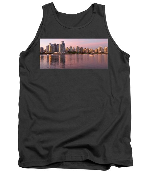Tank Top featuring the photograph Vancouver Bc Skyline Along False Creek At Dusk by JPLDesigns