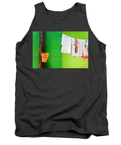 Tank Top featuring the photograph Vase Towels And Green Wall by Silvia Ganora