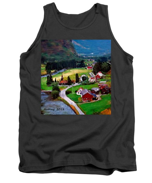 Tank Top featuring the painting Village In The Mountains by Bruce Nutting