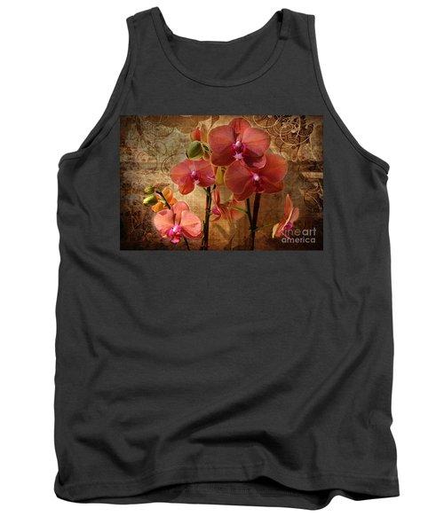Vintage Burnt Orange Orchids Tank Top